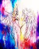 Dessin au crayon sur le vieux papier Angel Wings Taches de couleur sur le fond Images stock