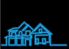 Dessin au trait continu de maison résidentielle avec l'effet au néon de vecteur illustration libre de droits