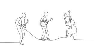 dessin au trait continu de représentation de concert de musique classique de jazz sur l'étape illustration stock