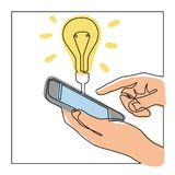 Dessin au trait continu des mains a trouvé une certaine idée sur le smartphone illustration de vecteur