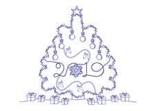 Dessin au trait continu des vacances de bonne année, un arbre et des jouets de Noël, des flocons de neige, des cerfs communs, des illustration libre de droits