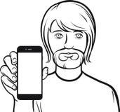 Dessin au trait d'un homme avec la barbe montrant un APP mobile sur un futé Photos stock