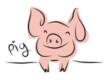 Dessin au trait d'un porc mignon, année de style linéaire de porc et illustrations tirées par la main de vecteur, collection d'en Image stock