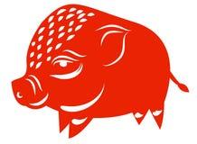 Dessin au trait d'un porc mignon, année de style linéaire de porc et illustrations tirées par la main de vecteur, collection d'en Images stock