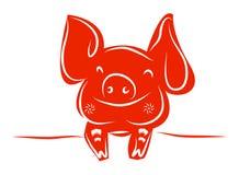 Dessin au trait d'un porc mignon, année de style linéaire de porc et illustrations tirées par la main de vecteur, collection d'en Photo stock