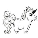 Dessin au trait d'une licorne coloration de dessin Image libre de droits