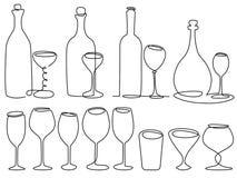 Dessin au trait en verre de vin un illustration stock