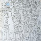 Dessin au trait encre de ville de Dubrovnikold Image stock