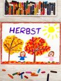 Dessin : Automne allemand de mot, arbres avec les feuilles rouges et d'orange et les filles de sourire, Photographie stock