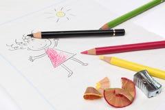 Dessin avec des crayons Photo libre de droits