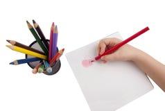 Dessin avec des crayons de couleur Photographie stock libre de droits