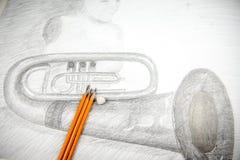 Dessin avec le crayon Photo libre de droits