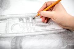 Dessin avec le crayon Photo stock
