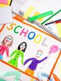 Dessin avec le ` d'école de ` de mot et les accessoires d'école Photo libre de droits