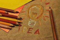 Dessin avec les crayons colorés Images libres de droits