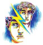 Dessin avec les marqueurs multicolores Têtes masculines, formes géométriques illustration de vecteur
