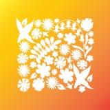 Dessin blanc de fleurs sauvages Image libre de droits