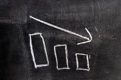 Dessin blanc de main de craie dans l'histogramme avec la forme de flèche de tendance à la baisse image libre de droits