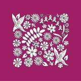 Dessin blanc et noir de fleurs sauvages Images libres de droits