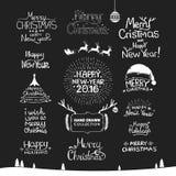 Dessin calligraphique de main de bonne année de Noël Photos stock