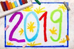 Dessin coloré : Carte 2019 de bonne année illustration de vecteur