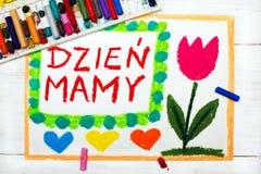 Dessin coloré : Carte heureuse polonaise de jour du ` s de Mothre Images stock
