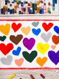 Dessin coloré de main : beaux coeurs, Photos stock