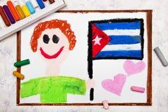 Dessin coloré : Homme heureux tenant le drapeau cubain illustration stock