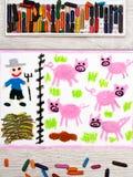 Dessin coloré : Porcs d'élevage Photos libres de droits