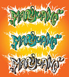 Dessin d'étude des textes de graffiti de marijuana Photos stock