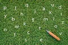 Dessin d'alphabet sur l'herbe verte et le crayon Photographie stock libre de droits