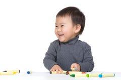 Dessin d'amour de bébé garçon de l'Asie Image stock