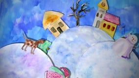 Dessin d'aquarelle d'animation d'hiver avec la fille, le chien et le bonhomme de neige illustration libre de droits