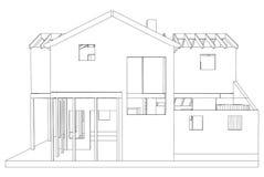 Dessin 3D architectural abstrait de maison de rapport Vecteur créé de 3d Images libres de droits
