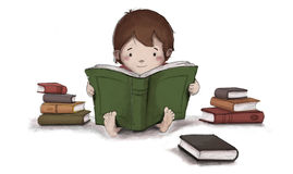 Dessin d'enfant lisant un livre se reposant sur le plancher Photos stock