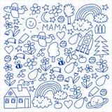 Dessin d'enfants Modèle coloré de vecteur avec des jouets, l'espace, planète illustration libre de droits