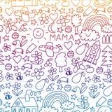 Dessin d'enfants Modèle coloré de vecteur avec des jouets, l'espace, planète illustration de vecteur