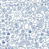 Dessin d'enfants Modèle sans couture de vecteur coloré avec des jouets, l'espace, planète illustration de vecteur