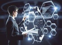 Dessin d'homme sur l'hologramme d'affaires Image stock
