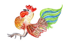 Dessin d'illustration d'un coq dans le style Images stock