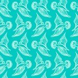 Dessin d'oiseau de mouette Modèle sans couture de mer d'été Illustration Image libre de droits