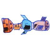 Dessin d'un bleu satellite d'aquarelle d'enfants Images stock