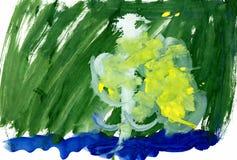 Dessin d'un jeune artiste, bouleau blanc, boucles d'oreille jaunes de floraison en premier ressort sur les banques de la rivière, photos stock