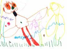 Dessin d'un jeune artiste, du papillon avec les yeux énormes et des longs cils dans un pré des fleurs, des crayons et des marqueu photo libre de droits