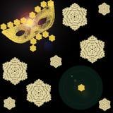 Dessin d'un masque d'or sur un fond noir avec des flocons de neige Image libre de droits