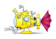 Dessin d'un mini sous-marin jaune fantastique de jouet avec les bras mécaniques vus du côté sur le fond blanc Photo stock