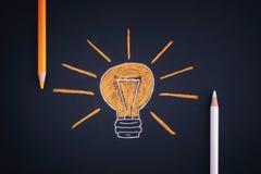 Dessin d'une ampoule et des crayons colorés Photos stock