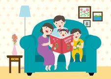 Dessin d'une famille heureuse appréciant lisant livres de contes heureux de ` d'ours de ` Photographie stock