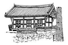 Dessin d'une maison coréenne traditionnelle sur un fond blanc Image libre de droits