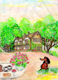 Dessin d'une maison et de la pelouse devant la maison Photos libres de droits